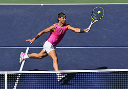 March 15, 2019 - Indian Wells, California, U.S. - RAFAEL NADAL (ESP) in action defeating Karen Khachanov (RUS) in the men's singles quarterfinal on March 15, 2019, during the BNP Paribas Open at the Indian Wells Tennis Garden in Indian Wells, CA. Nadal won 7:6, 7:6. (Credit Image: © John Cordes/Icon SMI via ZUMA Press)