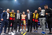 Nordine OUBAALI (FRA) and Luis MELENDEZ (COL) during the Boxing event, La Conquete Tony Yoka, round 4, heavyweight boxing bout between Tony Yoka (FRA) and Cyril Leonet (FRA) on April 7, 2018 at Dome de Paris - Palais des Sports in Paris, France - Photo Pierre Charlier / ProSportsImages / DPPI