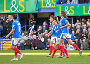 Portsmouth players celebrate after Portsmouth defender Christian Burgess makes it 3-0 during the Sky Bet League 2 match between Portsmouth and Notts County at Fratton Park, Portsmouth, England on 25 March 2016. Photo by Adam Rivers.