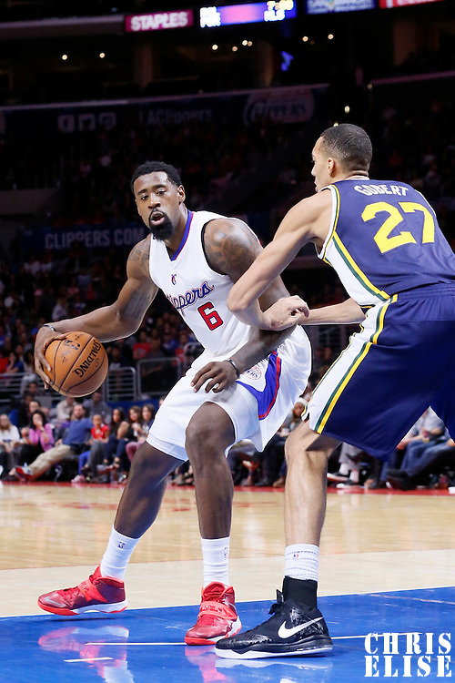 17 October 2014: Los Angeles Clippers center DeAndre Jordan (6) posts up Utah Jazz center Rudy Gobert (27) during the Los Angeles Clippers 101-97 victory over the Utah Jazz, in a preseason game, at the Staples Center, Los Angeles, California, USA.