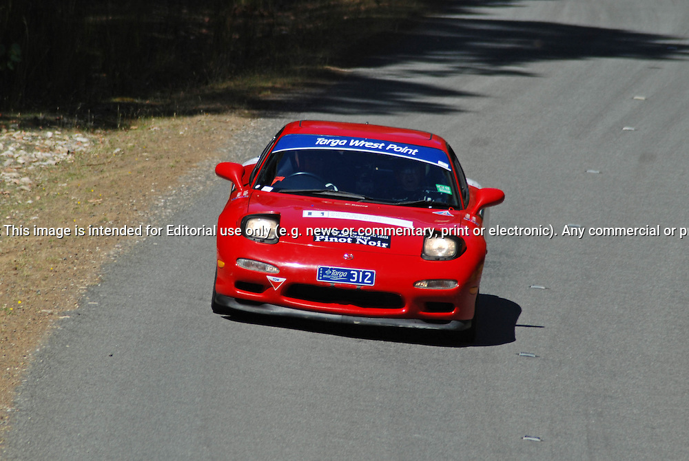 312 Phillip Blunden & Thomas Blunden..1998 Mazda RX7.Day 1.Targa Wrest Point 2010.Southern Tasmania.30th of January 2010.(C) Sarah Biggin.Use information: This image is intended for Editorial use only (e.g. news or commentary, print or electronic). Any commercial or promotional use requires additional clearance.