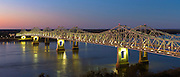 Illuminated iron cantilever Natchez - Vidalia Bridge across the Mississippi River in Louisiana, USA