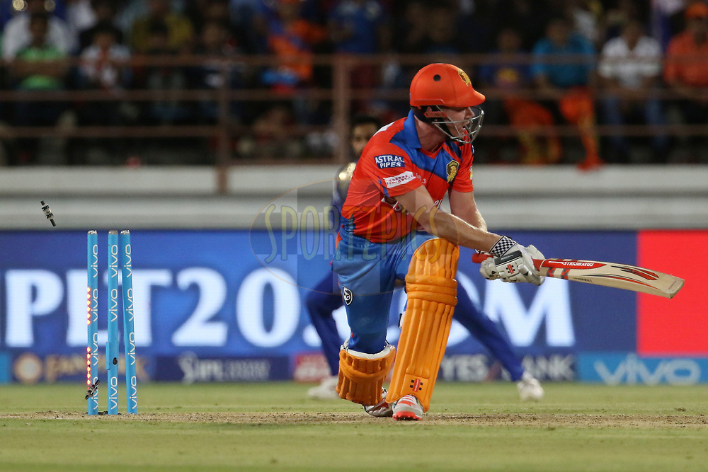 James Faulkner of the Gujarat Lions gets clean bowled during match 35 of the Vivo 2017 Indian Premier League between the Gujarat Lions and the Mumbai Indians  held at the Saurashtra Cricket Association Stadium in Rajkot, India on the 29th April 2017<br /> <br /> Photo by Vipin Pawar - Sportzpics - IPL