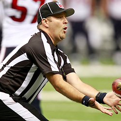 August 25, 2012; New Orleans, LA, USA; A NFL replacement official catches a football during the first half of a preseason game  between the New Orleans Saints and the Houston Texansat the Mercedes-Benz Superdome. Mandatory Credit: Derick E. Hingle-US PRESSWIRE