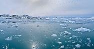 Alberto Carrera, Arctic Lands, Drift floating Ice and Snowcapped Mountains, Iceberg, Ice Floes, Albert I Land, Arctic, Spitsbergen, Svalbard, Norway, Europe