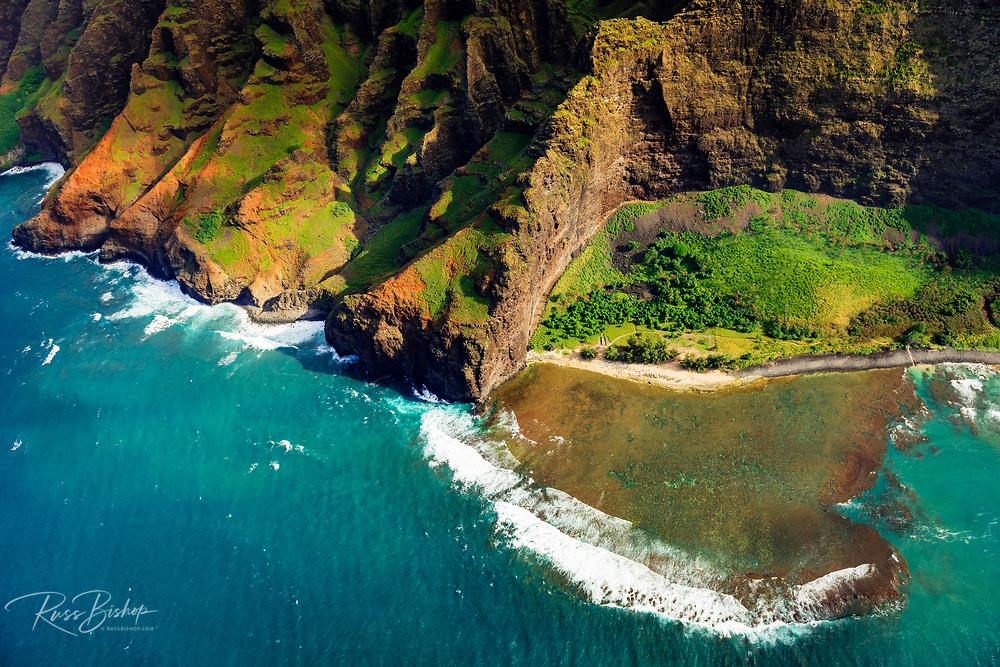Nualolo Kai Beach and the Na Pali Coast (aerial), Nualolo Kai State Park, Kauai, Hawaii USA