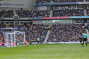 Everton striker Wayne Rooney (10) shoots from the penalty spot and scores the equaliser 1-1 during the Premier League match between Brighton and Hove Albion and Everton at the American Express Community Stadium, Brighton and Hove, England on 15 October 2017. Photo by Phil Duncan.