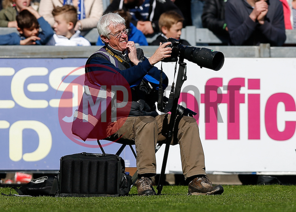 """Ooh, what does that button do?!' - Photo mandatory by-line: Rogan Thomson/JMP - 07966 386802 - 11/04/2015 - SPORT - FOOTBALL - Bristol, England - Memorial Stadium - Bristol Rovers v Southport - Vanarama Conference Premier."