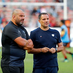 Patrice Collazo coach of Toulon and Laurent Labit coach of Racing 92 during Top 14 match between Toulon and Racing 92 on August 25, 2018 in Toulon, France. (Photo by Henri/Icon Sport)