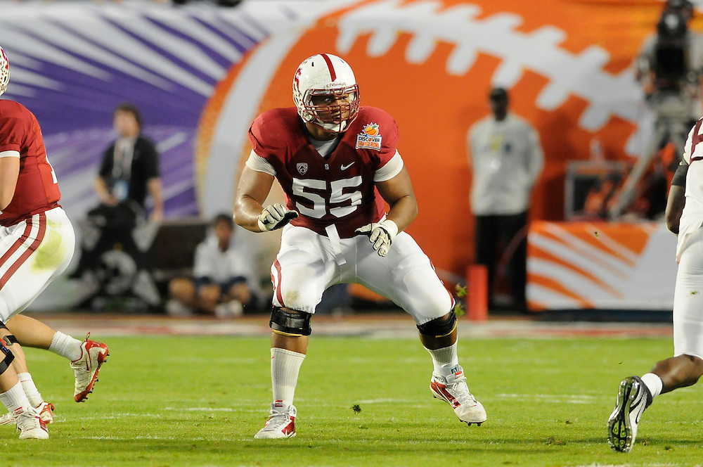 January 3, 2011: Jonathan Martin of the Stanford Cardinal in action during the NCAA football game between the Stanford Cardinal and the Virginia Tech Hokies at the 2011 Orange Bowl in Miami Gardens, Florida. Stanford defeated Virginia Tech 40-12.