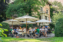 The Winter Garden cafe in garden of Literaturhaus in Berlin Germany