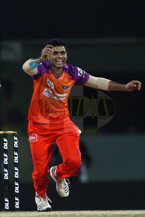 Ravindra Jadeja goes up for an appeal during match 64 of the Indian Premier League ( IPL ) Season 4 between the Chennai Superkings and The Kochi Tuskers Kerala held at the MA Chidambaram Stadium in Chennai, Tamil Nadu, India on the 18th May 2011..Photo by Jacques Rossouw/BCCI/SPORTZPICS