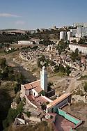 Algeria. Constantine. Sidi Rasheed  marabout, mausoleum on the Rhumel river , old city    / Algerie, Constantine.  Sidi Rasheed marabout mausolee mosquee sur le Rhumel , la vielle ville  sur le rocher,     08