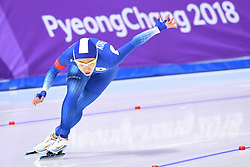 PYEONGCHANG, Feb. 18, 2018  South Korea's Lee Sang-Hwa competes during ladies' 500m final of speed skating at the 2018 PyeongChang Winter Olympic Games at Gangneung Oval, Gangneung, South Korea, Feb. 18, 2018. Lee Sang-Hwa claimed second place in a time of 37.33. (Credit Image: © Ju Huanzong/Xinhua via ZUMA Wire)