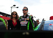 Feb. 21, 2010; Fontana, CA, USA; NASCAR Sprint Cup Series driver Kyle Busch and fiance .Samantha Sarcinella prior to the Auto Club 500 at Auto Club Speedway. Mandatory Credit: Jennifer Stewart-US PRESSWIRE