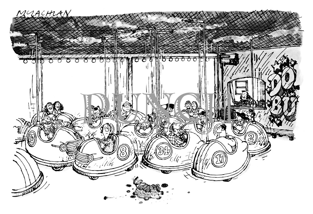 (Scene at a dodgem car attraction with a mechanical squashed hedgehog lying on the ground)