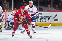 REGINA, SK - MAY 27: German Rubtsov #98 of Acadie-Bathurst Titan looks for the pass ahead of Liam Schioler #55 of Regina Pats at the Brandt Centre on May 27, 2018 in Regina, Canada. (Photo by Marissa Baecker/CHL Images)