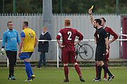 Hollands and Blair winger Jordan Gallagher gets a yellow card during the Southern Counties East match between AFC Croydon Athletic and Hollands & Blair at the Mayfield Stadium, Croydon, United Kingdom on 10 October 2015. Photo by Mark Davies.