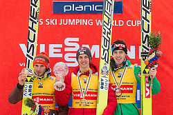 Overall flying classification: Second placed Robert Kranjec of Slovenia, Winner Gregor Schlierenzauer of Austria and third placed Anders Bardal of Norway celebrate during trophy ceremony after the Flying Hill Individual Event at 4th day of FIS Ski Jumping World Cup Finals Planica 2013, on March 24, 2013, in Planica, Slovenia. (Photo by Vid Ponikvar / Sportida.com)