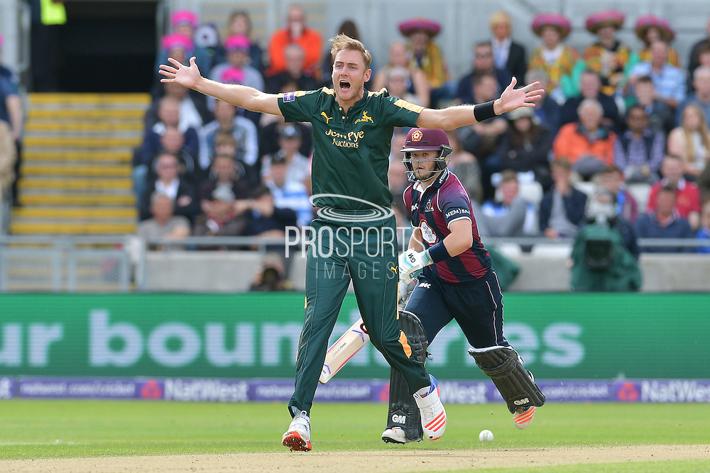 Stuart Broad appeals unsuccessfully for LBW against Ben Duckett during the NatWest T20 Finals Day 2016 match between Nottinghamshire County Cricket Club and Northamptonshire County Cricket Club at Edgbaston, Birmingham, United Kingdom on 20 August 2016. Photo by Simon Trafford.