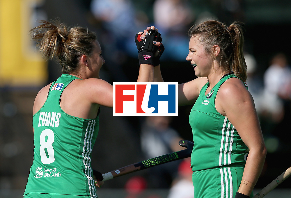 JOHANNESBURG, SOUTH AFRICA - JULY 12: Nicola Evans of Ireland celebrates scoring their teams first goal with Deirdre Duke of Ireland during day 3 of the FIH Hockey World League Semi Finals Pool A match between Ireland and Poland at Wits University on July 12, 2017 in Johannesburg, South Africa. (Photo by Jan Kruger/Getty Images for FIH)