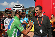 Alejandro Valverde (ESP, Movistar) with Miguel Indurain (ESP) during the 73th Edition of the 2018 Tour of Spain, Vuelta Espana 2018, Stage 14 cycling race, Cistierna - Les Praeres Nava 171 km on September 8, 2018 in Spain - Photo Angel Gomez/ BettiniPhoto / ProSportsImages / DPPI