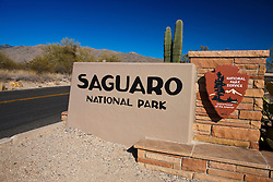 National Park Service entrance sign, Saguaro National Park, Tucson, Arizona, United States of America