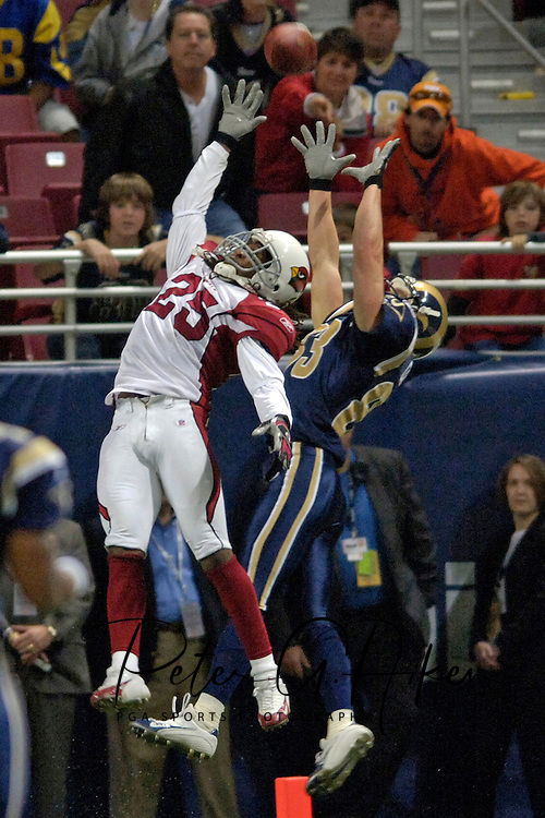 St. Louis Rams wide receiver Kevin Curtis (R) goes up and makes a touchdown catch over Arizona's Eric Green (L) late in the fourth quarter at the Edward Jones Dome in St. Louis, Missouri, November 20, 2005.  The Cardinals beat the Rams 38-28.