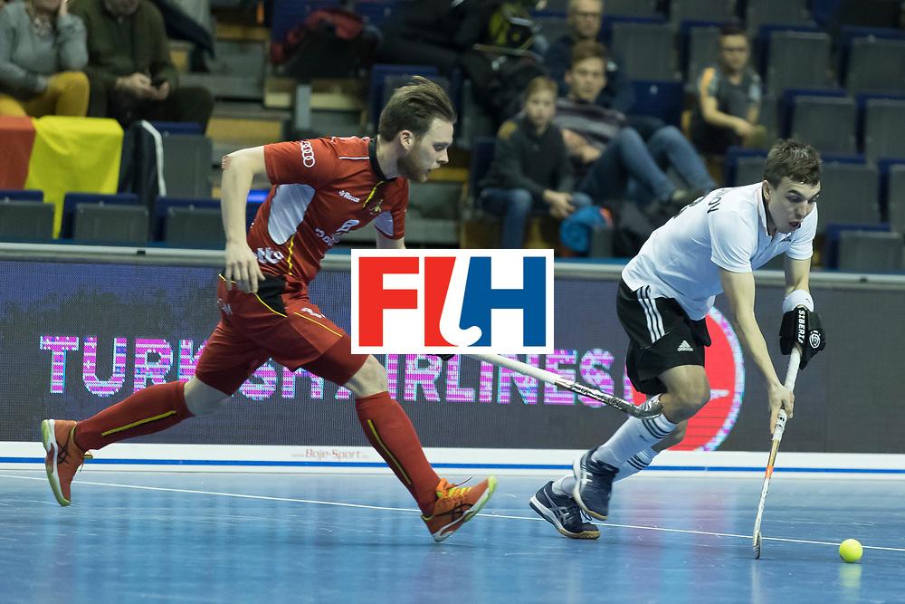 Hockey, Seizoen 2017-2018, 08-02-2018, Berlijn,  Max-Schmelling Halle, WK Zaalhockey 2018 MEN, Belgium - Russia 4-5, ZIMMER Tanguy (BEL) and ZAMALUTDINOV Ilfat (RUS). Worldsportpics copyright Willem Vernes