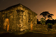 Fort San Lorenzo under a starry night sky in Panama.