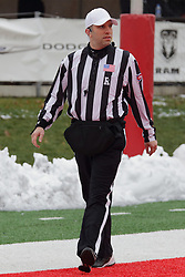 NORMAL, IL - November 17: Referee Andy Speciale during a college football game between the ISU (Illinois State University) Redbirds and the Youngstown State Penguins on November 17 2018 at Hancock Stadium in Normal, IL. (Photo by Alan Look)