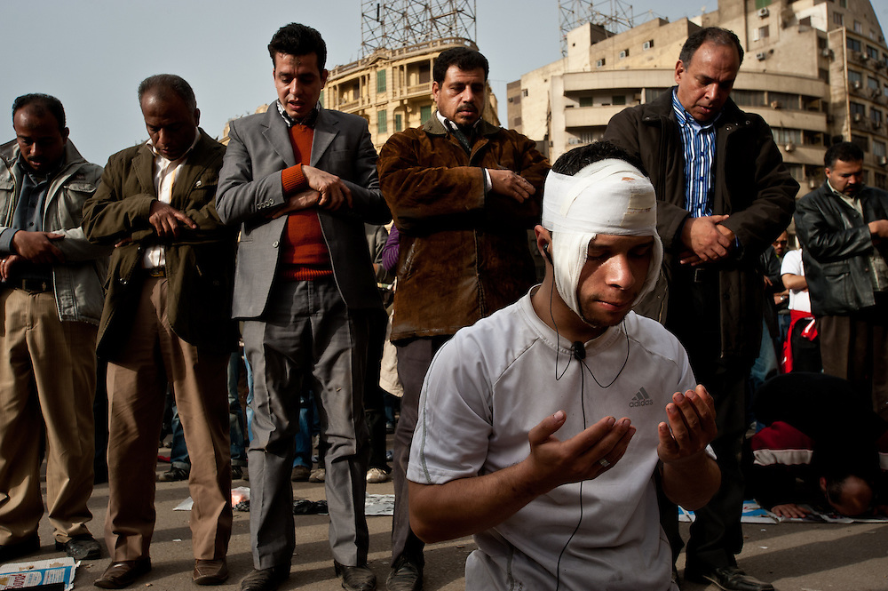 Egyptian protesters pray in unison in Tahrir Square in Cairo, the site of major anti-government protests this week.