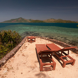 Chaise Lounges at Vonu Point, Turtle Island, Yasawa Islands, Fiji