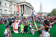 The Mayor's Feast of St George celebrations 2014<br /> Trafalgar Square <br /> London <br /> United Kingdom<br /> 21st April 2014 <br /> <br /> <br /> Atmosphere, colour & fun at the celebrations.