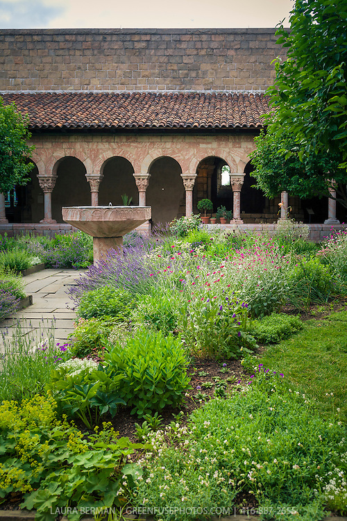 The courtyard garden at The Cloisters in New York City