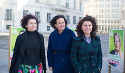 03.03.2015, Ballhausplatz, Wien, AUT, Gruene, Pressekonferenz und Fotoaktion zum Internationalen Frauentag. im Bild v.l.n.r. Nationalratsabgeordnete der Gruenen Alev Korun, Gruene Klubobfrau Eva Glawischnig und Nationalratsagbeordnete der Grünen Berivan Aslan // f.l.t.r. Member of Parliament of the greens Alev Korun, Leader of the parliamentary group the greens Eva Glawischnig<br />  and Member of Parliament of the greens Berivan Aslan during press conference of the greens according to international women's day in front of the federal chancellors office in Vienna, Austria on 2015/03/03. EXPA Pictures © 2015, PhotoCredit: EXPA/ Michael Gruber