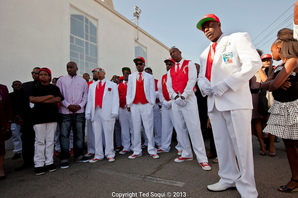 Pall bearers.<br /> Funeral services for Kevin &quot;Flipside&quot; White at Macedonia Church in Watts.<br /> White was shot dead in what is believed to be an unprovoked attack during a gang conflict at Watts' Nickerson Gardens and Jordan Downs housing projects.<br /> Flipside, 44, was a founding member of Watts' first major label hip hop act, O.F.T.B. (Operation From The Bottom).