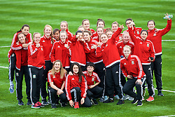 MERTHYR, WALES - Thursday, February 16, 2017: Wales players pose for a team photo as they arrive before the Women's Under-17's International Friendly match against Hungary at Penydarren Park. (Pic by Laura Malkin/Propaganda)