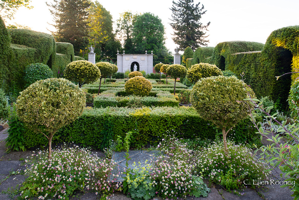 A Yew parterre and the Nyphaeum, an Italianat tableau  in the Yew Garden at The Laskett Gardens, Much Birch, Herefordshire, UK