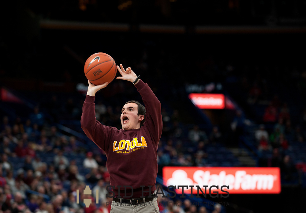 A fan from Loyola University Chicago participates in a promotional event during the Ramblers' game against Bradley University during the semifinals of the Missouri Valley Conference men's basketball tournament at Scottrade Center in St. Louis Saturday, March 3, 2018. Photo © copyright 2018 Sid Hastings.