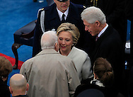 Former President Carter, Clinton and Hillary Clinton before Donald Trump takes the oath of office for the presidency of the United States on January 20,2017<br /> <br /> Photo by Dennis Brack