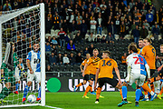 Goal Derrick Williams of Blackburn Rovers heads the ball home to score a goal and take the lead 0-1 during the EFL Sky Bet Championship match between Hull City and Blackburn Rovers at the KCOM Stadium, Kingston upon Hull, England on 20 August 2019.
