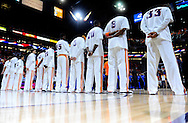 May 23, 2010; Phoenix, AZ, USA; Phoenix Suns line up for the national anthem prior to game three of the western conference finals in the 2010 NBA Playoffs at US Airways Center.  The Suns defeated the Lakers 118-109.   Mandatory Credit: Jennifer Stewart-US PRESSWIRE