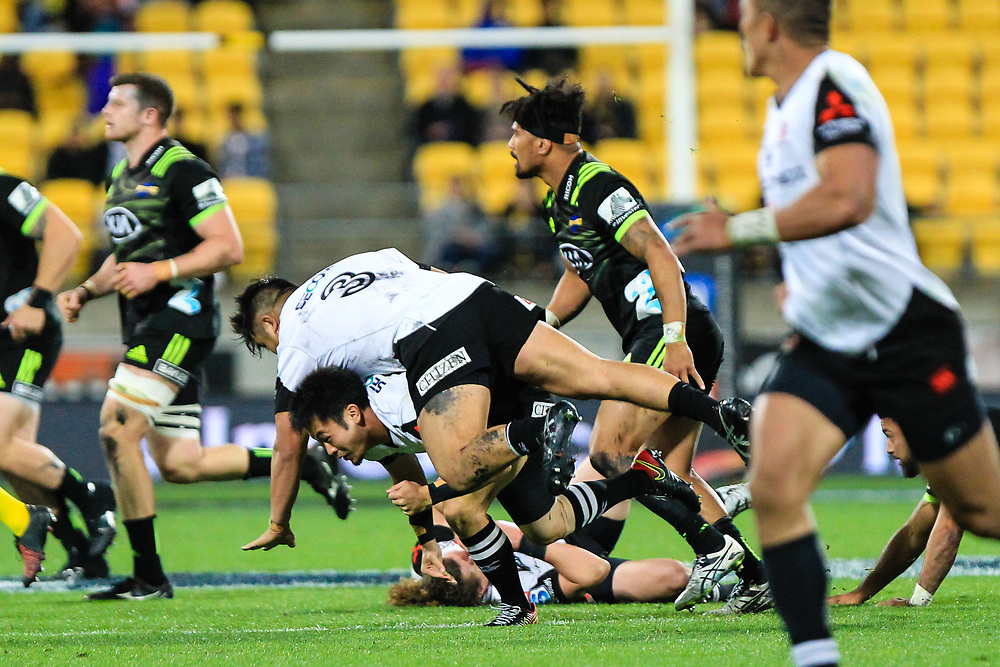 Takuma Asahara collides with Fumiaka Tanaka during the Super Rugby union game between Hurricanes and Sunwolves, played at Westpac Stadium, Wellington, New Zealand on 27 April 2018.   Hurricanes won 43-15.