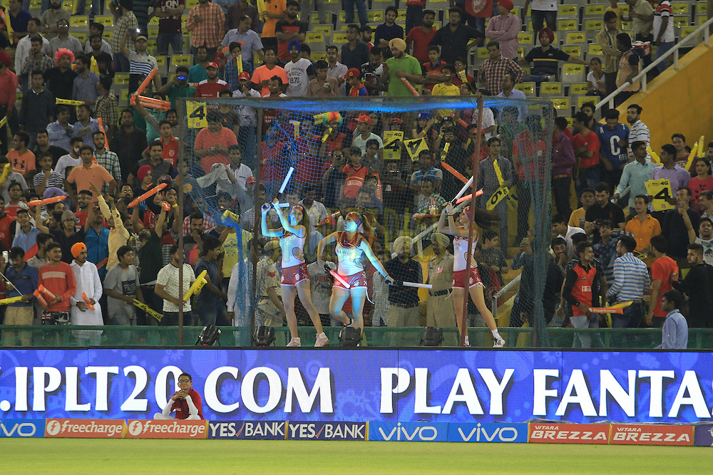 Kings XI Punjab cheerleaders during match 39 of the Vivo Indian Premier League ( IPL ) 2016 between the Kings XI Punjab and the Royal Challengers Bangalore held at the IS Bindra Stadium, Mohali, India on the 9th May 2016<br /> <br /> Photo by Arjun Singh / IPL/ SPORTZPICS