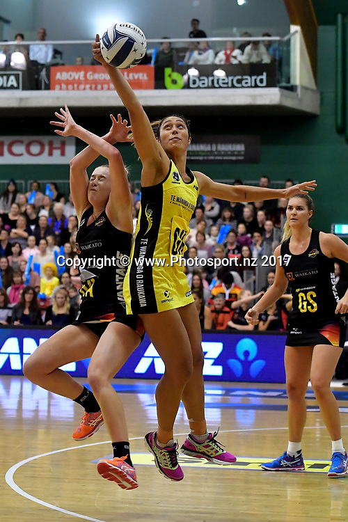 Pulse's Phoenix Karaka (R intercepts a pass to Magic's Monica Falkner during the ANZ Premiership netball match between the Pulse and Magic at the Central Energy Trust Arena in Palmerston North on Monday the 5th of June 2017. Copyright Photo by Marty Melville / www.Photosport.nz