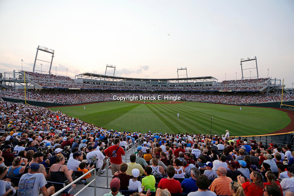 Jun 25, 2013; Omaha, NE, USA; General view of TD Ameritrade Park during the fourth inning in game 2 of the College World Series finals between the UCLA Bruins and the Mississippi State Bulldogs. Mandatory Credit: Derick E. Hingle-USA TODAY Sports
