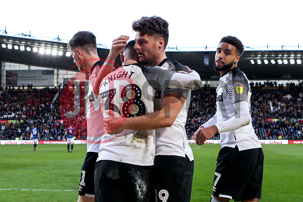Chris Martin of Derby County celebrates with teammates after scoring a goal to make it 3-0 - Mandatory by-line: Robbie Stephenson/JMP - 08/03/2020 - FOOTBALL - Pride Park Stadium - Derby, England - Derby County v Blackburn Rovers - Sky Bet Championship