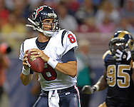 Houston Texans quarterback David Carr (8) in action against St. Louis at the Edward Jones Dome in St. Louis, Missouri, August 19, 2006.  The Texans beat the Rams 27-20.
