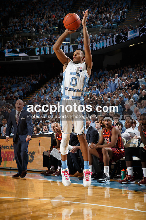CHAPEL HILL, NC - JANUARY 26: Nate Britt #0 of the North Carolina Tar Heels shoots the ball against the Virginia Tech Hokies on January 26, 2017 at the Dean Smith Center in Chapel Hill, North Carolina. North Carolina won 91-72. (Photo by Peyton Williams/UNC/Getty Images) *** Local Caption *** Nate Britt